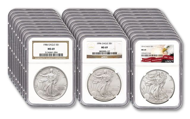 1986-2016 1 Dollar 1-oz Silver Eagle 31pc Set NGC MS69