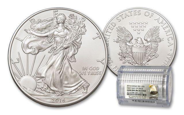 2016 1 Dollar 1-oz Silver Eagle NGC Gem BU 20-Coin Roll FDI