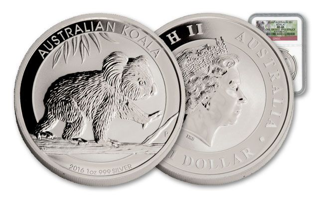 2016 Australia 1-oz Silver Koala First Struck MS69