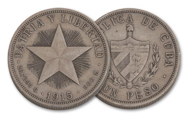 1915 1916 Cuba Star Peso Silver Dollar F Xf