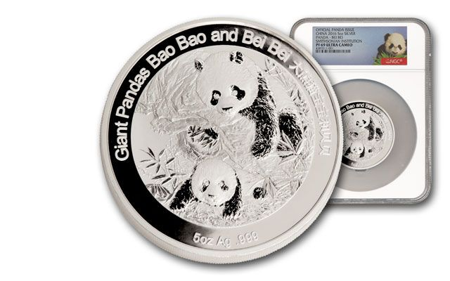 2016 China 5-oz. Silver Smithsonian Panda NGC PF69