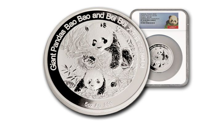 2016 China 5-oz. Silver Smithsonian Panda NGC PF70