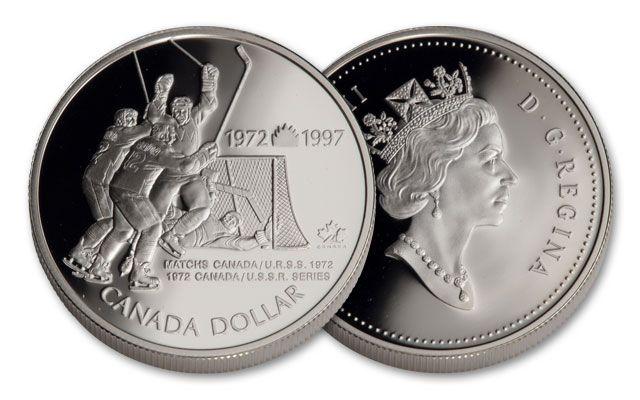 1997 Canada 1 Dollar Silver 25th Anniv. Hockey Victory Proof