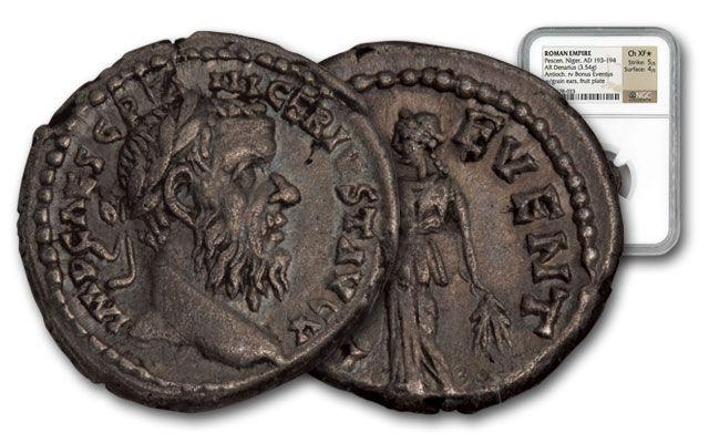 193-194 AD Roman Silver Denarius of Niger NGC CH XF