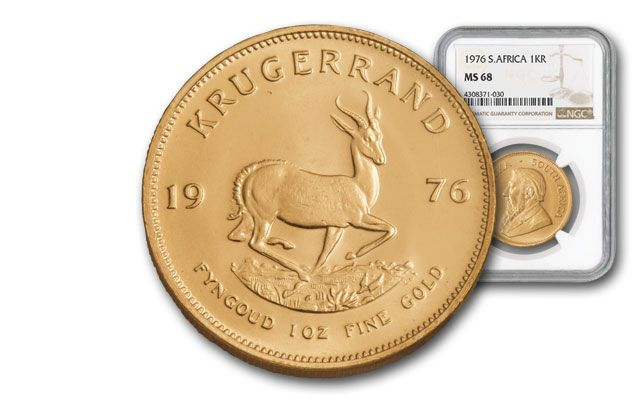 1976 South Africa 1-oz Gold Krugerrand NGC MS68