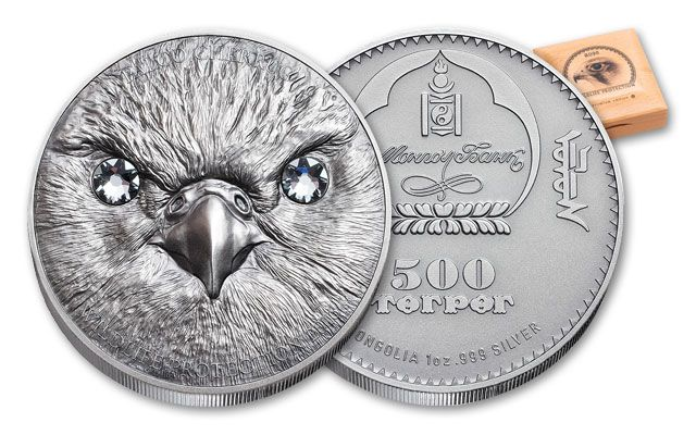 2016 Mongolia 500 Togrog 1-oz Silver Falcon Antique Proof