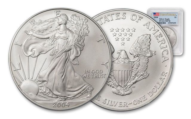 2004 1 Dollar 1-oz Silver Eagle PCGS MS70 First Strike