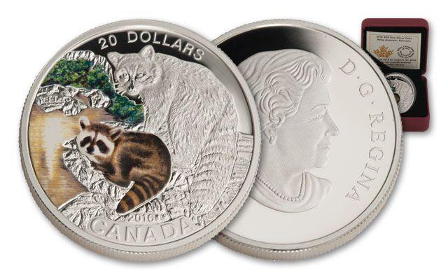 2016 Canada 20 Dollar 1-oz Silver Baby Animals Proof- Raccoon