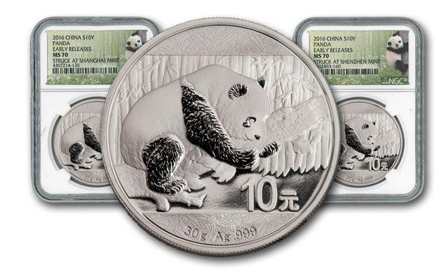 2016 China 30-g Silver Panda 2pc Mint Set NGC MS70 Early Release