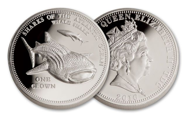 2016 Tristan da Cunha 1 Crown 1-oz Silver Whale Shark Proof