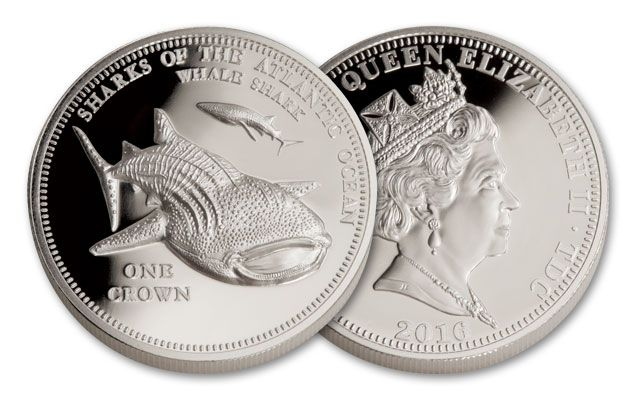2016 Tristan da Cunha 1 Crown 1-oz Silver Whale Shark NGC GEM Proof
