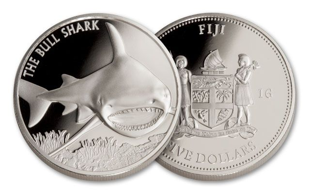 2016 Fiji 5 Dollar 1-oz Silver Bull Shark Proof