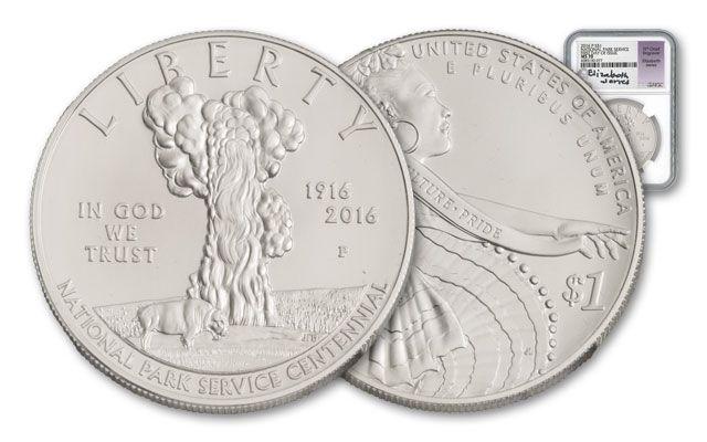 2016-P 1 Dollar 1-oz Silver National Park NGC MS70 FDI Jones Signed