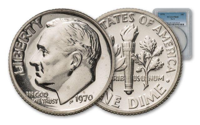 """1970 Roosevelt Dime No """"S"""" PCGS PR68"""