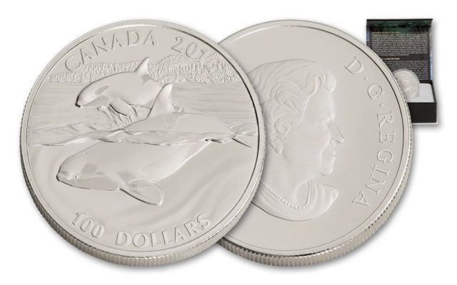2016 Canada 100 Dollar 1-oz Silver Orca Whale Matte Proof