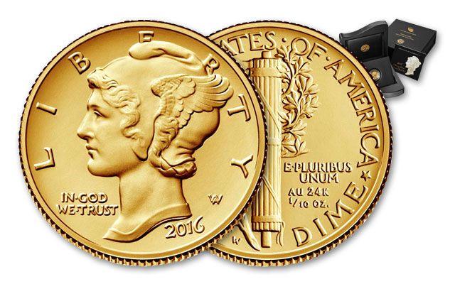 2016-W 10 Cent Gold Mercury Dime