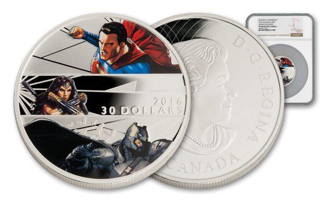 2016 Canada 30 Dollar 2-oz Silver Batman vs Superman Trinity NGC PF69