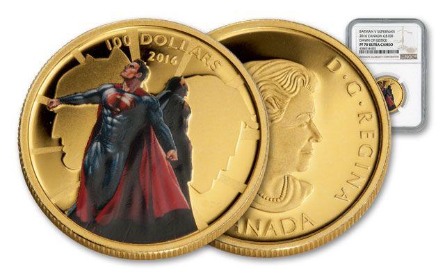 2016 Canada 100 Dollar Gold Batman vs SuperMan NGC PF70UC