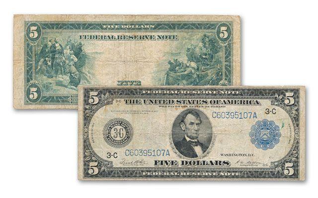1914 5 Dollar Federal Reserve Bank Note AU