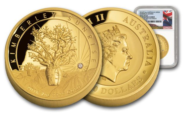 2016 Australia 500 Dollar 2-oz Gold Kimberly Sunrise High Relief NGC PF70UCAM First Struck