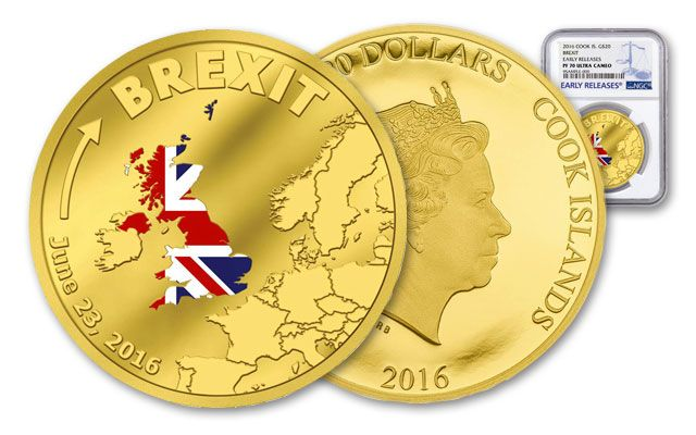 2016 Cook Island 20 Dollar 1/10-oz Gold Brexit PF70