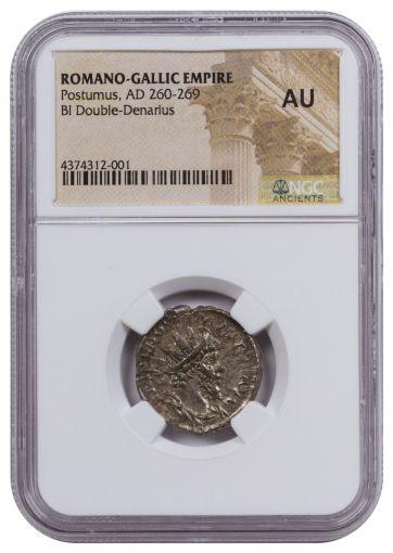 AD 260-269 Romano-Gallic Empire Billon Double Denarius of Postumus NGC AU