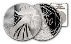2014 France 100 Euro Silver Rooster NGC MS69 First Struck