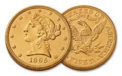 1866–1908 $5 Gold 8.36 Grams Liberty Head Type II BU