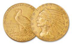 1908–1929 $5 Gold 8.36 Gram Indian Head XF