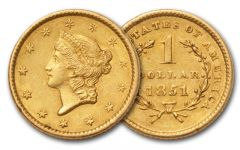 1849-1854 1 Dollar Gold Liberty Type I XF