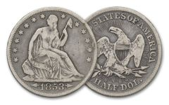 1853-1861-O 50 Cent Silver Seated Liberty Fine