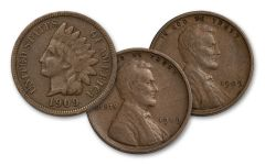 1909 U.S. One Cent Indian and Lincoln 3-Coin Set XF