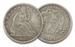 1875-1877-CC 50 Cent Seated Liberty Fine
