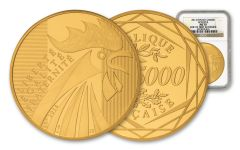 2014 France 100-Gram Gold Rooster NGC MS70 One of First 20 Struck