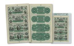 1872 South Carolina 20 and 50 Dollar E.B. Wesley Uncut Notes PMG MS67 EPQ - Sheet of 4