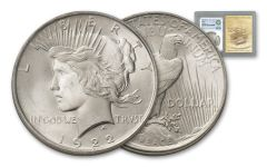 1922-P Peace Dollar NGC MS64 Smithsonian Institution Coin Classics