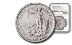 2016 Great Britain 2 Pound 1-oz Silver Britannia Plain Fields Error NGC MS69 First Releases