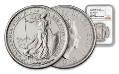 2016 Great Britain 2 Pound 1-oz Silver Britannia Plain Fields Error NGC MS70 First Releases