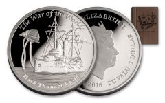 2016 Tuvalu 1 Dollar 1-oz Silver War of the Worlds Proof