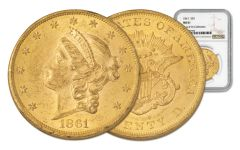 1861-P 20 Dollar Gold Liberty NGC MS61 Rive d'Or