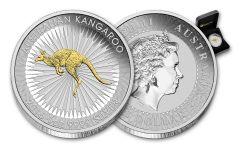2016 Australia 1 Dollar 1-oz Silver Gilded Kangaroo Uncirculated