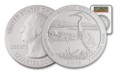 2015 25 Cent 5-oz Silver America the Beautiful Bombay Hook NGC SP70 FDI