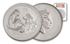2016 Australia 8 Dollar 5-oz Silver Lunar Monkey NGC MS70