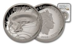 2016 Tuvalu 1-oz Silver Star Trek Enterprise High Relief NGC PF70