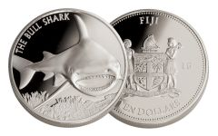 2016 Fiji 10 Dollar 5-oz Silver Bull Shark Gem Proof
