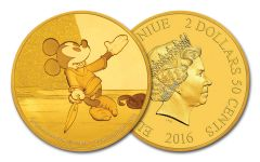 2016 Niue $2.50 1/2-Gram Gold Disney Mickey the Brave Little Taylor Proof