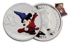 2016 Niue 2 Dollar 1-oz Silver Disney Mickey Fantasia Proof