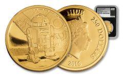 2016 Niue 250 Dollar 1-oz Gold Star Wars Classic R2-D2 NGC Gem Proof First Struck - Black