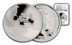 2016 Niue $2 1-oz Silver Disney Mickey Plane Crazy NGC PF69UC First Releases