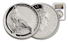 2017 Australia 1 Dollar 1-oz Silver Wedge-Tailed Eagle NGC MS70 Mercanti Signed